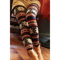 Fashion Snowflake Pattern Elastic Leggings