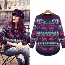 Cute Animal Pattern Long Sleeve Round Neck Knitted Sweater