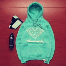 Romantic Solid Color Long Sleeve Hooded Lover Sweatshirt