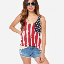 Fashion American Flag Floral Print Spliced Wrinkled Sleeveless Vest t-Shirt