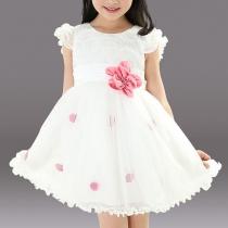 Girls Summer Dress Puff sleeve Ribbon Flower Sweet Princess Dress