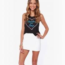 Fashion Love Letters Print O-neck Vest