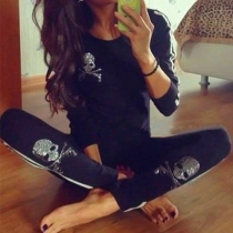 Fashion Dazzling Skull Head Long-sleeveed Casual Woman Sportswear Set