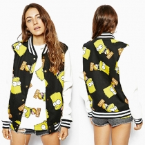 Cute Cartoon Pattern Stand Collar Long Sleeve Baseball Coat