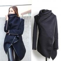 Fashion reine Farbe Unregelmäßige Saum Wolle Trenchcoat Mantel