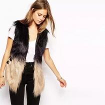 Fashion Kontrast Farbe Leder gespleißte Faux-Pelz Weste Mantel