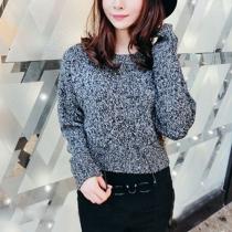 Retro Mixed Color High-waist Long Sleeve Knitting Sweater