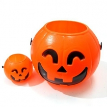 (2 in 1) Pumpkin Candy Basket Barrel Bowl Halloween Decorations