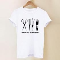 Schickes Weißes T-Shirt mit Kurzen Ärmeln Rundhalsausschnitt Haarschneide-Motiv