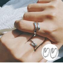 2-Teiliges Unisex Umarmungsringset für Paare aus 925 Sterling Silber