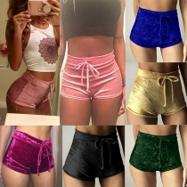Sexy Casual Damen Shorts aus Azetatfaser in Samt-Optik