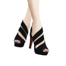 Chic Cute Stripe Cutout Peep-toe High-heeled Shoes