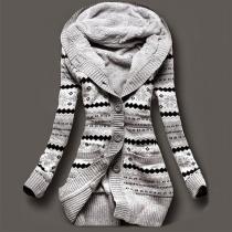 Stylische Strickjacke Cardigan Hoodie mit Kapuze und Streifen-Print
