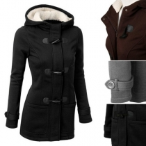 Stylische Damen Dufflecoat Jacke mit Kapuze und gefütterter Innerseite