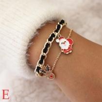Fashion Snowman/Santa Claus/Elk Pendant Bracelet