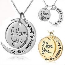 Romantic Moon Pendant Lover Necklaces