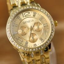 Genf Legierung Armbanduhr Strass Rundes Zifferblatt Quarzuhren Damenschmuck