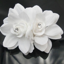 Sweet Style Rhinestone White 3D Flowers Hair Clips Hairpins