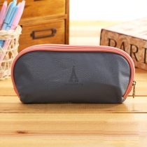 Cute Candy Color Portable PU Leather Pencil Bag Stationery Bag