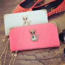 Fashion süße Damen Geldbörse Geldtasche Clutch mit Fox mit Strasssteineinsatz