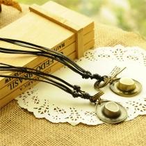 Vintage Aluminium-Anhänger Lederkette Halskette Damenschmuck