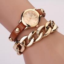 Retrostil Armbanduhr mit Lederband und gerundetem Zifferblatt