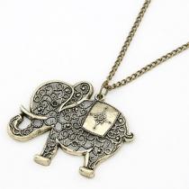 Retrostil Ausgestanzt Elefantenanhänger Halskette Damenschmuck