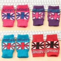 Mode Britische Flagge Muster Gestrickt Halbfinger-Handschuhe