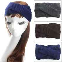 Fashion Solid Color Crossover Knit Headband