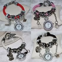 Fashion Herzanhänger Strass Armbanduhr Damenschmuck