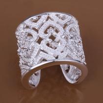 Mode Strass Ausgestanzt Bling-Bling Aluminium Fingerring Damenschmuck