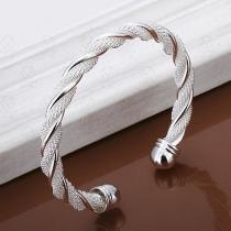 Stylische Silberton Verdrehtes Bling-Bling Armband Damenschmuck