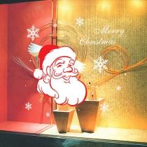 Netter Weihnachtsmann Schneeflocken-Muster Entfernbarer Wand-Aufkleber