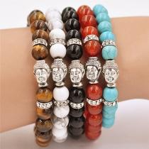 Mode Achat Perlen Buddha-Kopf Freundschaftsarmband Damenschmuck