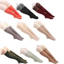 Mode Kontrast Farben Gestrickte Strümpfe