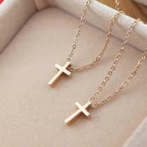 Mode Goldton Kreuzanhänger Halskette Damenschmuck