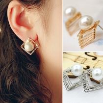 Mode 3D Ausgehöhlte Vierecke Perlen Ohrstecker Ohrringe Damenschmuck