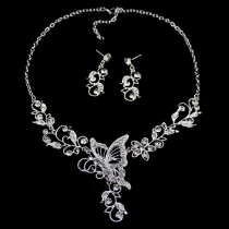 Mode Strass Schmetterling Halskette + Ohrringe Set Damenschmuck