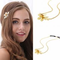 Mode Golden Blumenförmiges Kopfband