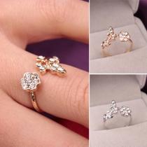 Mode Elegant Strass Blatt Blume Offener Ring