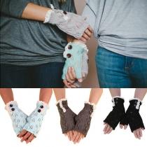 Mode Blatt Spitze Muster Gestrickt Fingerlose Handschuhe