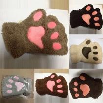 Mode Reizende Stickerei Cartoon Klauenförmige Halbe Finger Handschuhe