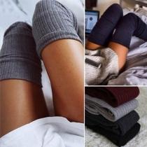 Damen Gestrickte Kniestrümpfe Overknie Socken
