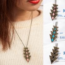 Retrostil Dreieckiger Anhänger Halskette