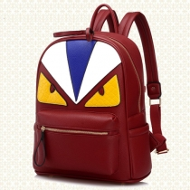 Cartoon Style Contrast Color Backpack Travelling School Bag