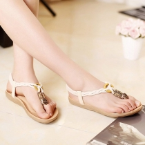 Bohemian Style Flat Heel Thong Sandals