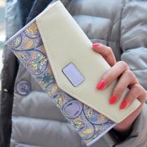 Pastorale Style Damen Clutch Geldtasche Geldbörse mit floralen Muster