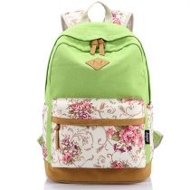 Fashion Contrast Color Floral Print Canvas Backpack