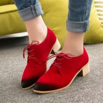 Retro Pointed Toe Thick Heel Lace-up Shoes