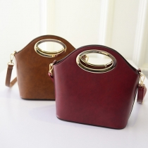 Fashion Zippered Metallic Oval Handle Crossbody Bag